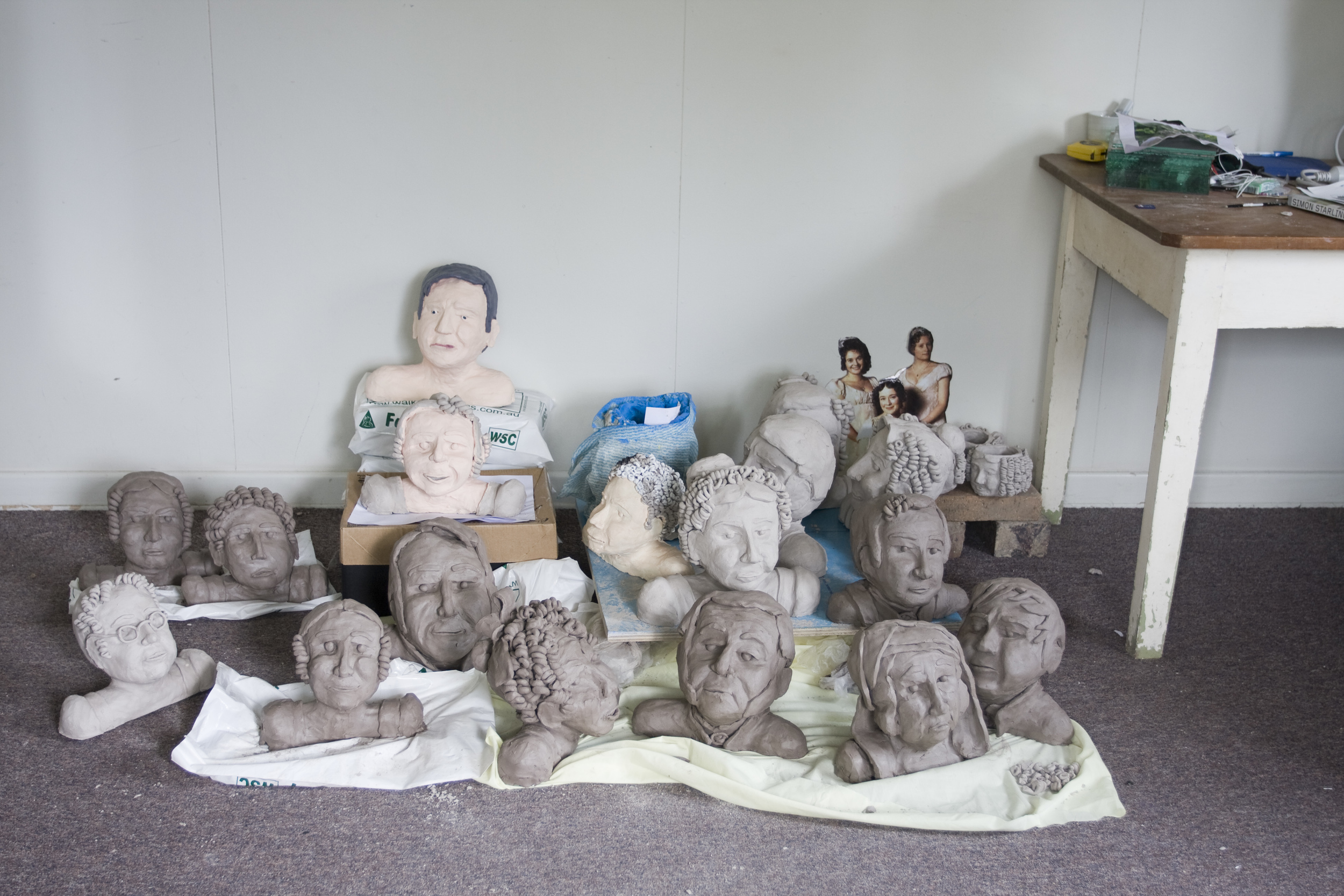 Clay Busts of Characters from the 1995 BBC version of Pride and Prejudice ( construction trial), clay and acrylic.