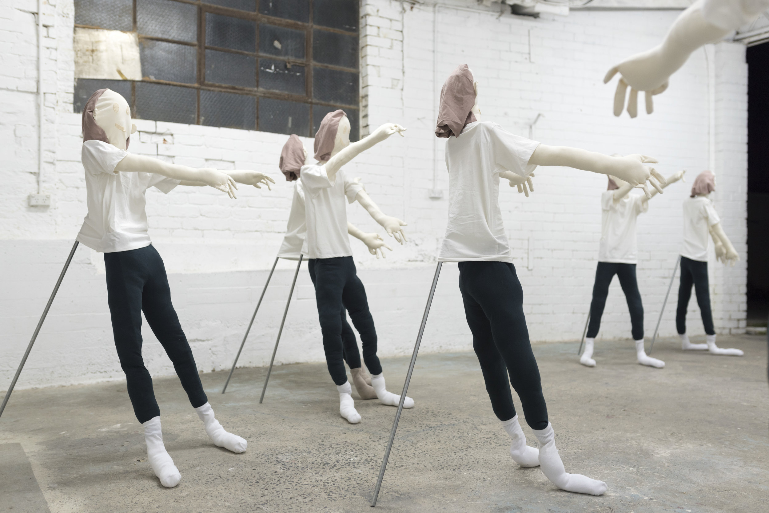 Slow Movement Sequence II, series of nine sewn sculptures.  Photograph by Lucy Parakhina.