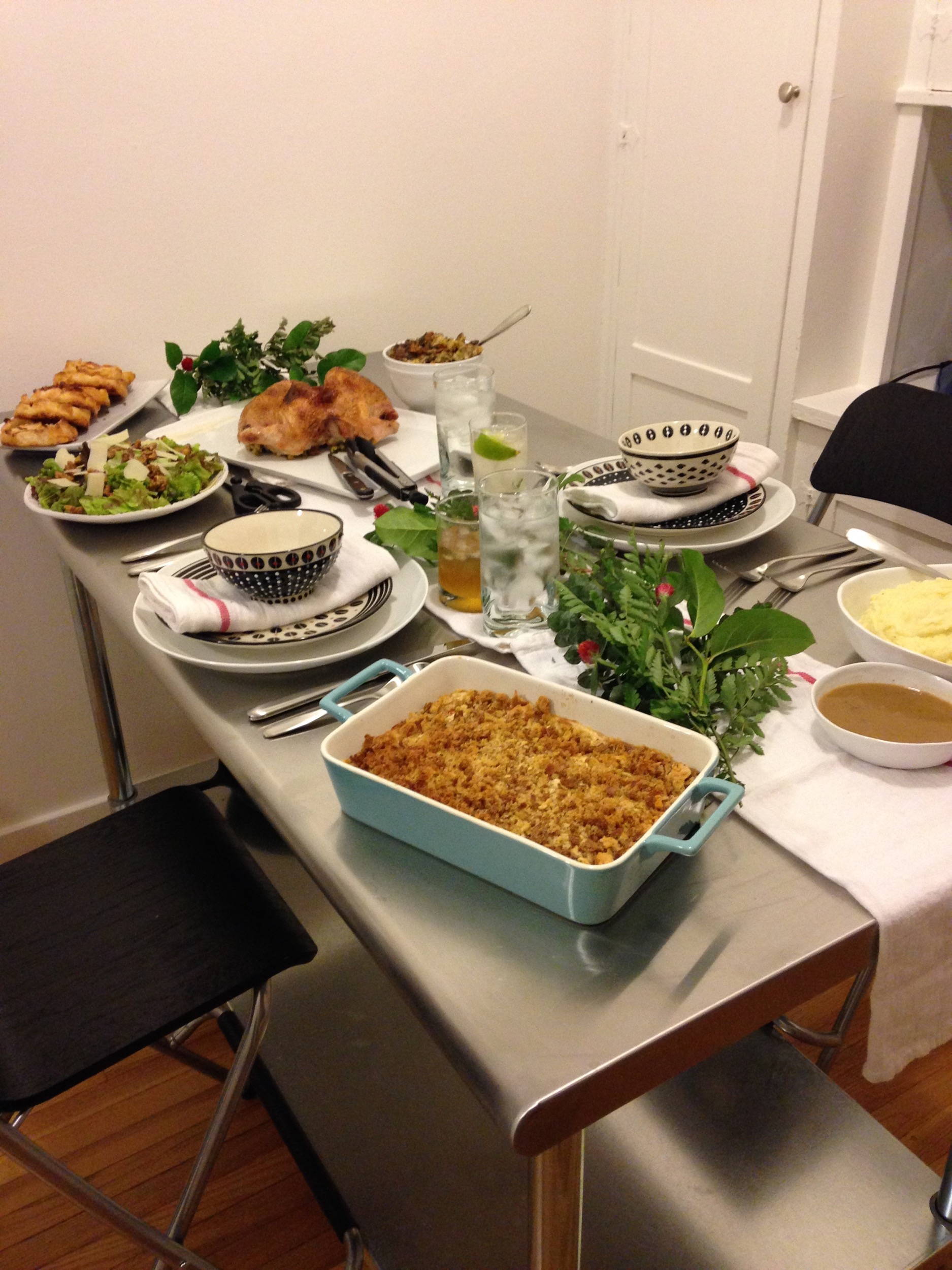 Our first Thanksgiving both as married couple and in San Francisco. It was just the two of us, but as you know Thanksgiving is pretty special to us so we went all out.