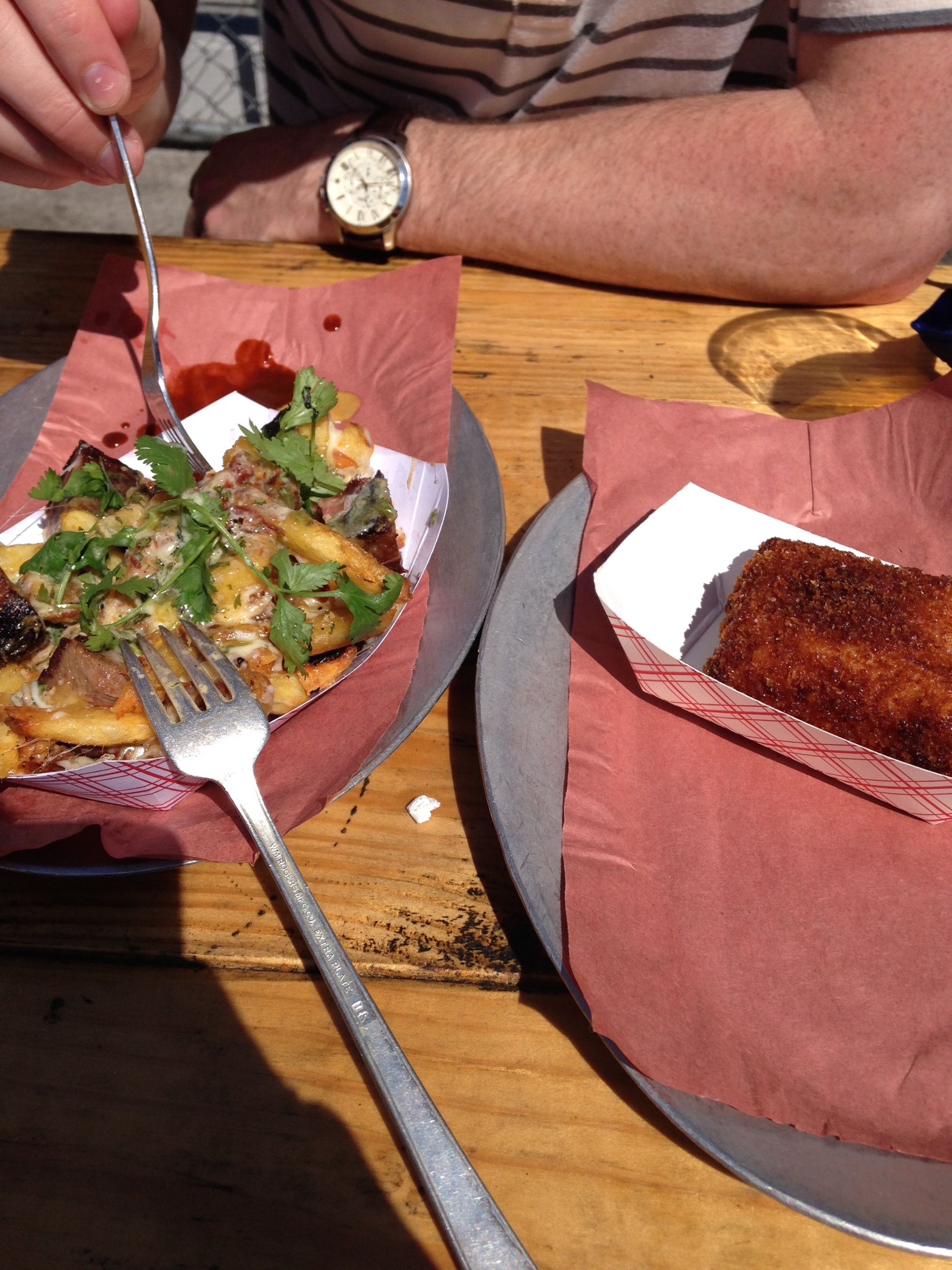 We discovered  4505 Barbeque  in Nopa. One of our favorite spots for BBQ (xander) and french fries (Allie). Oh, and that breaded block to the left is fried macaroni and cheese. Yup, now you want some.