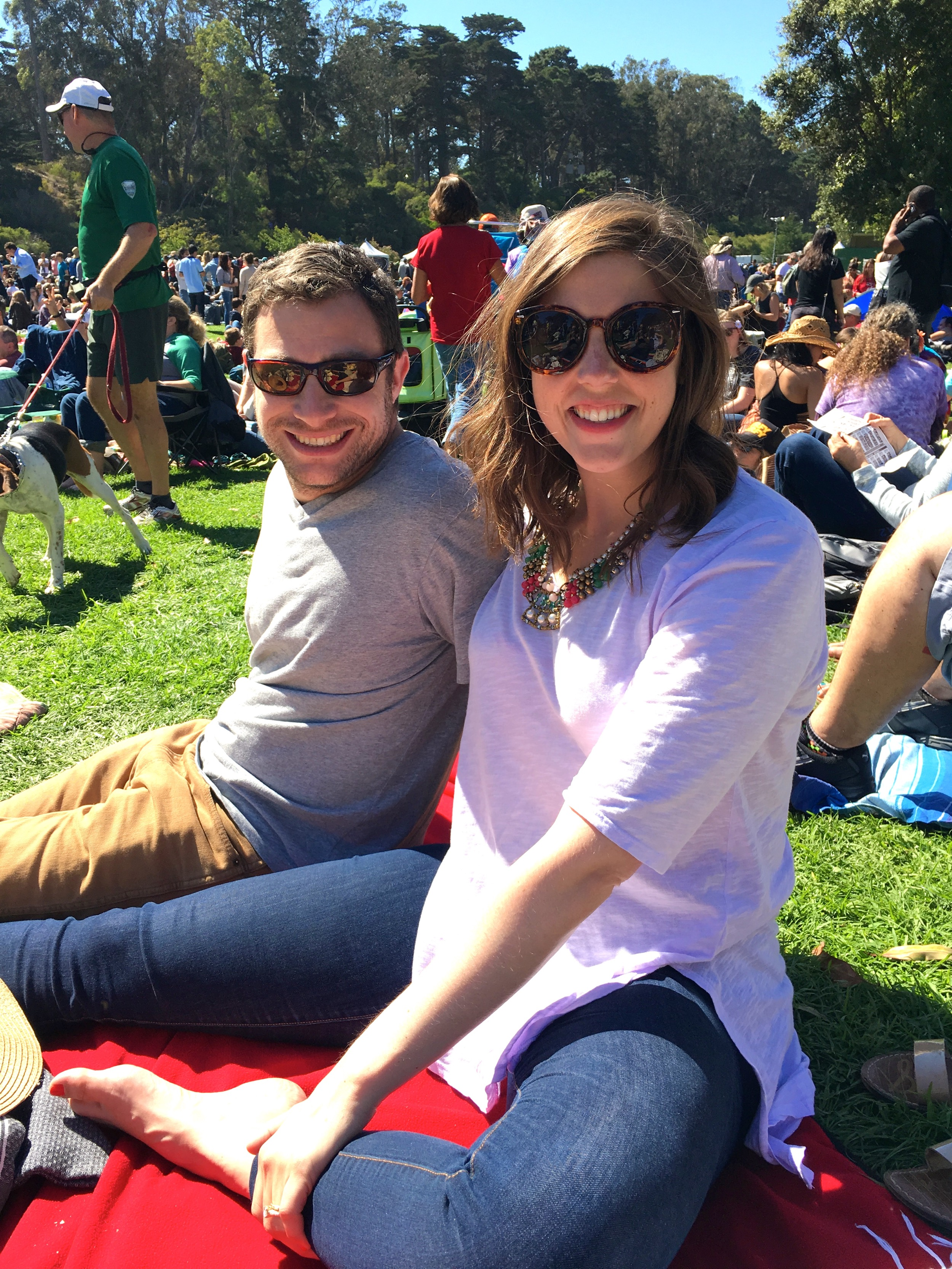 Watching the blue grass bands at Hardly Strictly in Golden Gate Park.