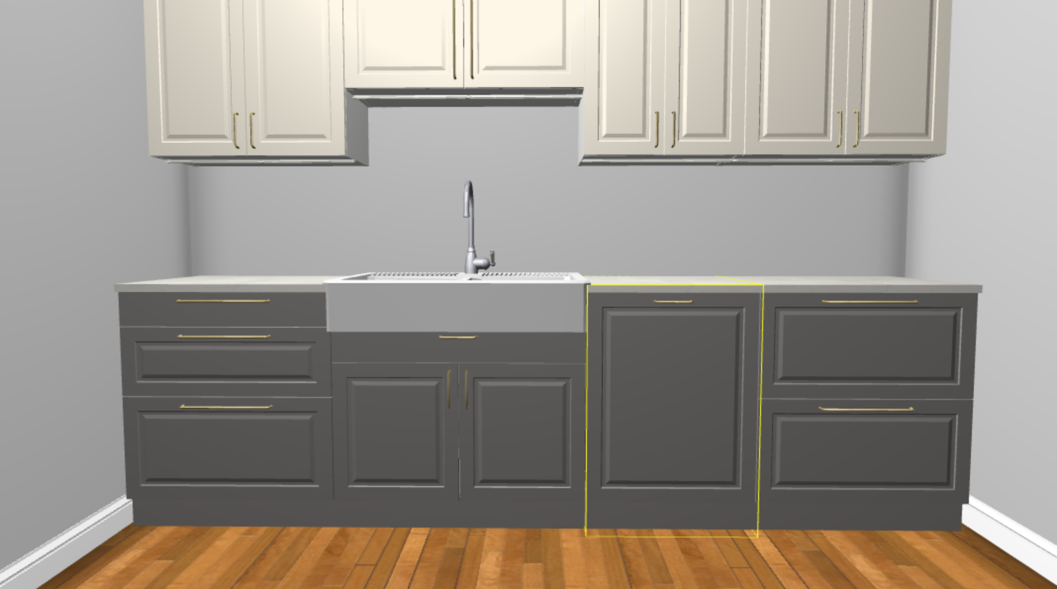 View from the sink side in the Ikea Planner Tool. I couldn't get the full view, but all that's missing is the top of the upper cabinets so you get the idea.