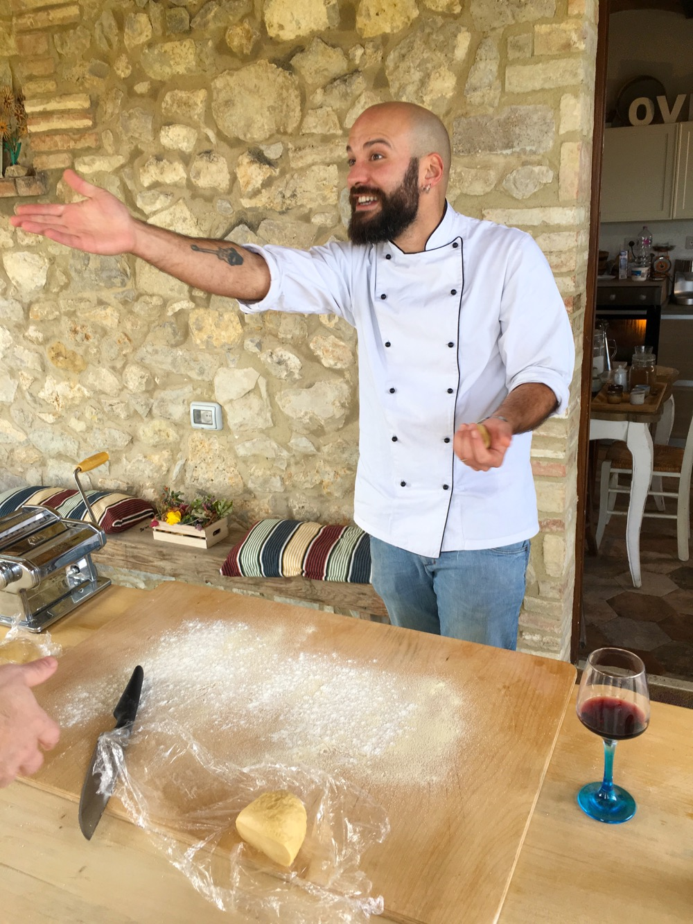 Our cooking instruction. He was so much fun, full of energy and made cooking pasta from scratch easy.