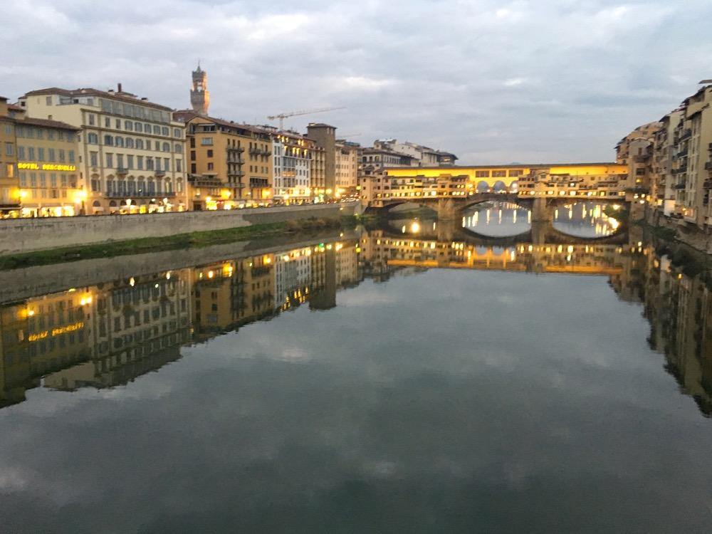 Florence's Ponte Vecchio at dusk.