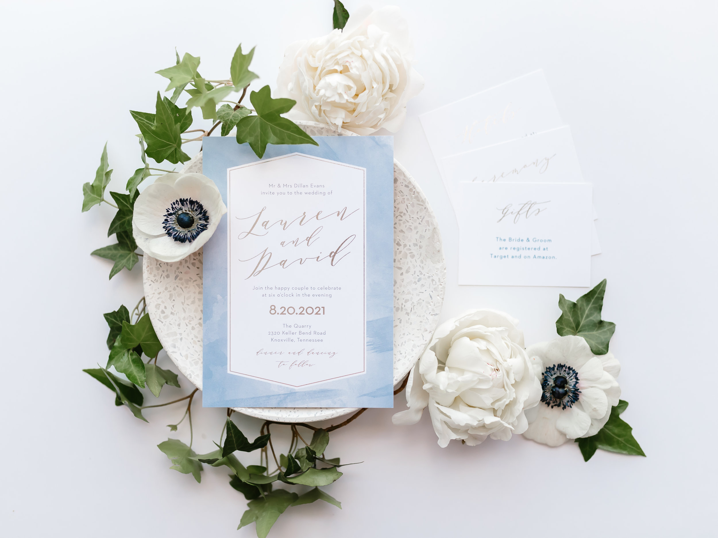blue watercolor basic invite wedding invitation stationery suite white anemones white peonies ivy eucalyptus