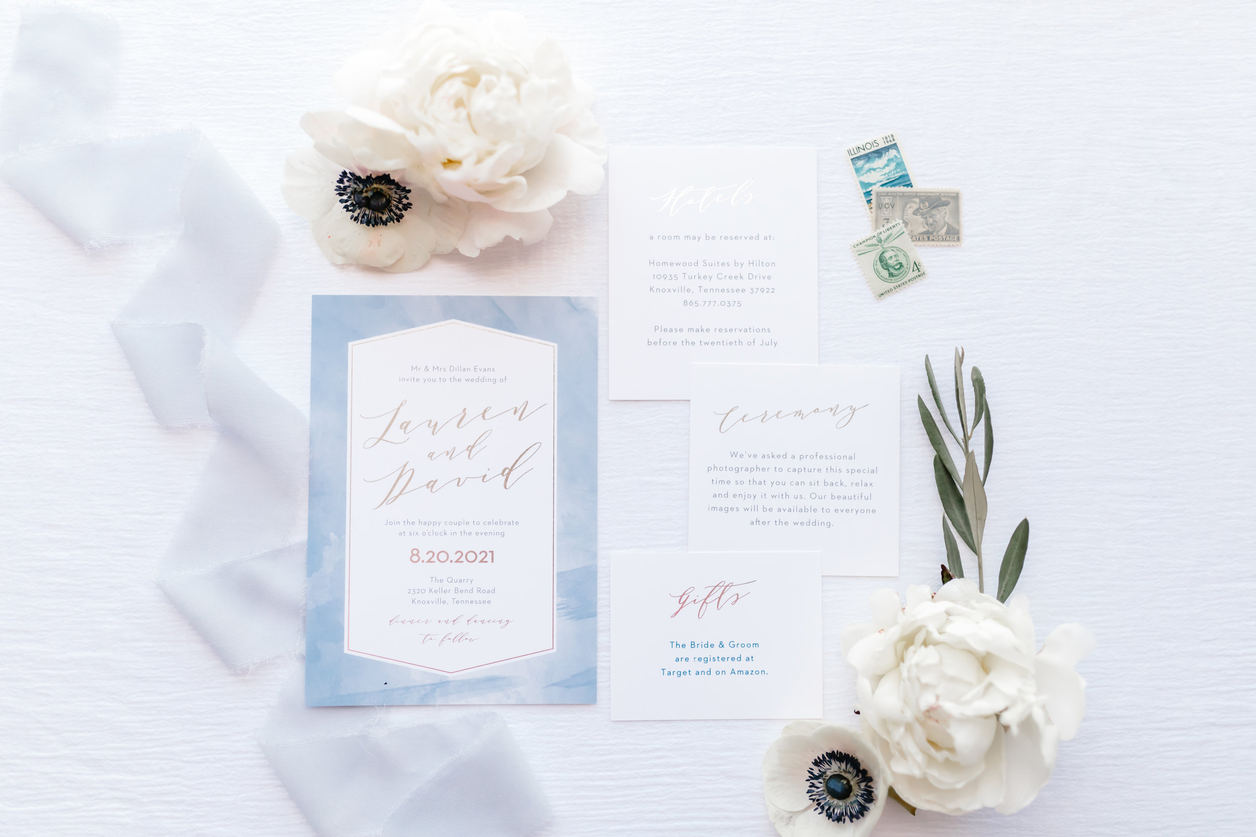 blue watercolor custom wedding stationery invitation suite white anemones white peonies ivy eucalyptus