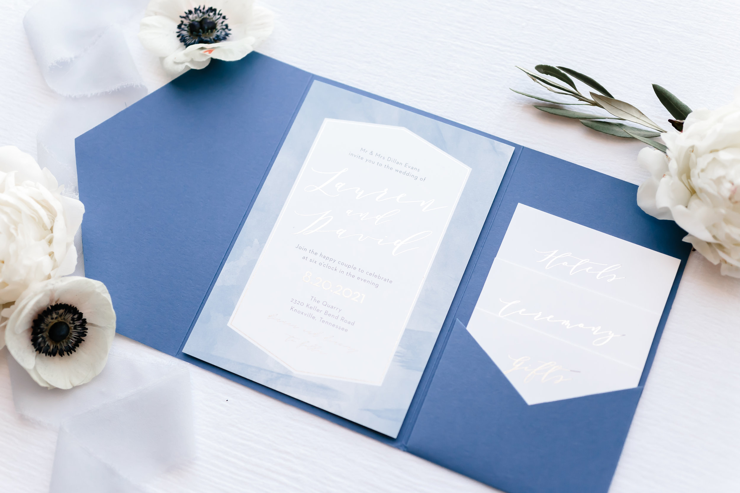 blue watercolor custom wedding invitation suite wedding stationery white anemones white peonies ivy eucalyptus