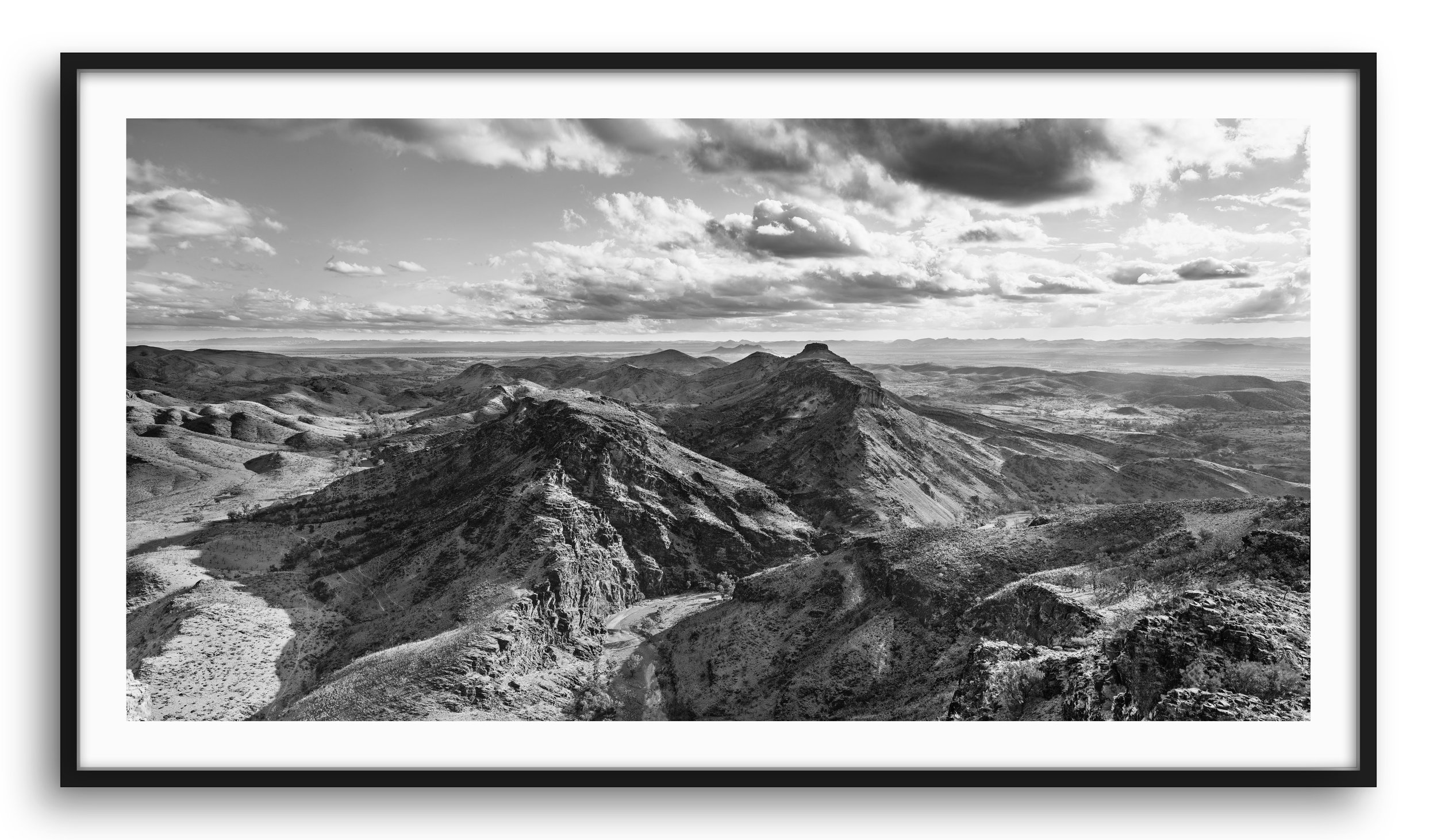 """""""GRAVITY """" Series   This series captures the raw beauty of the Flinders Ranges in South Australia and the confronting nature of its scale in time. With a geological history that is as old as complex life on earth, the landscape and it's duration prompts us to explore the idea of our own brief flash of existence.  The revolutions of our earth within the universe and the erosion of a prehistoric mountain range are created by the forces of gravity that act throughout our universe and show us the ever changing nature of life. This landscape and it's context gives us a perspective far greater than our own short life and inspires.   Framed and unframed prints are available from $285."""