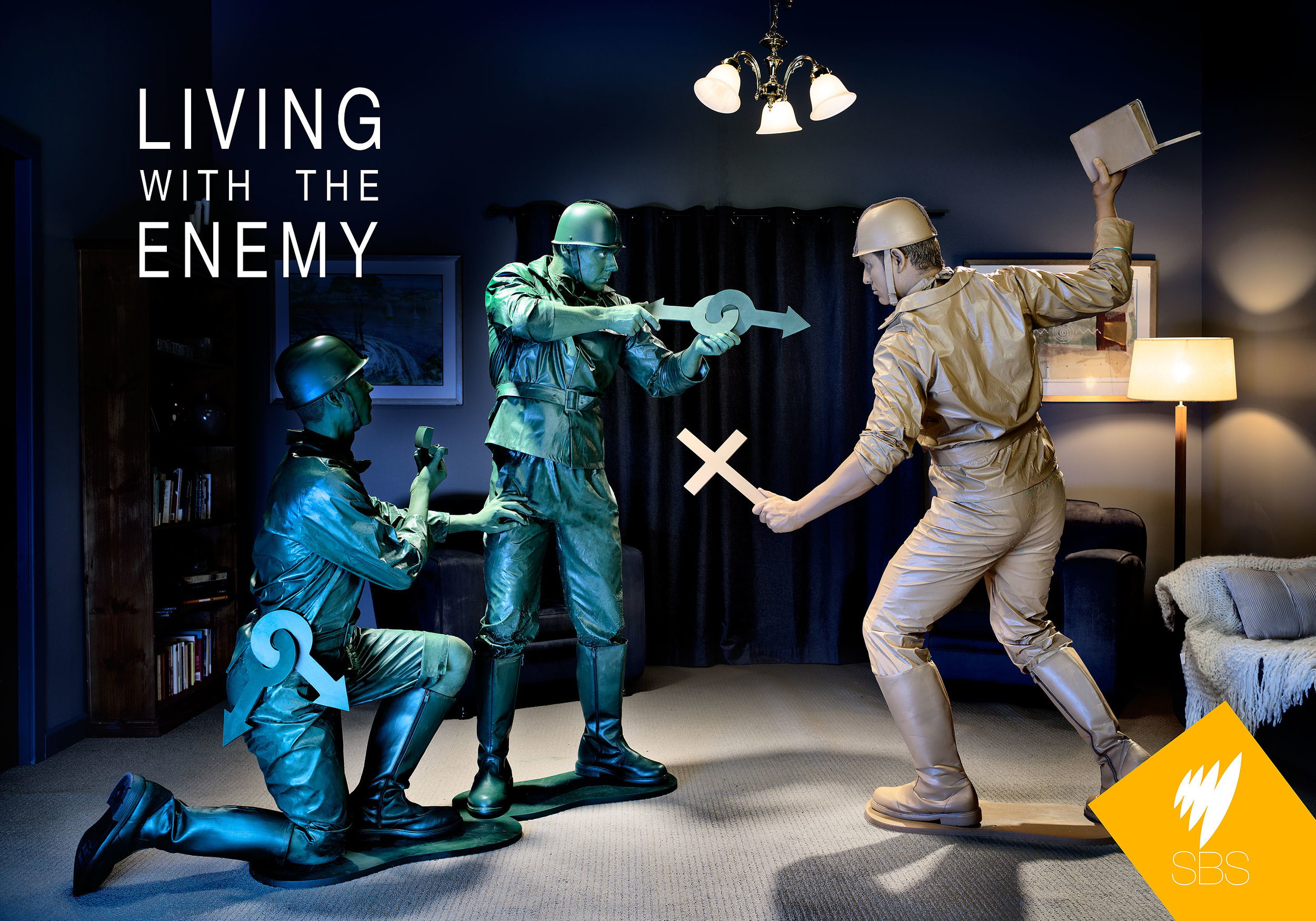 Living with the Enemy - Client: SBS (tv network)Agency: SBSMedia: StillsUsage: Online & PrintI shot this image for a promotion for the SBS reality show Living with the Enemy. The Art department worked overtime to create this set on one of their sound stages. …Read more