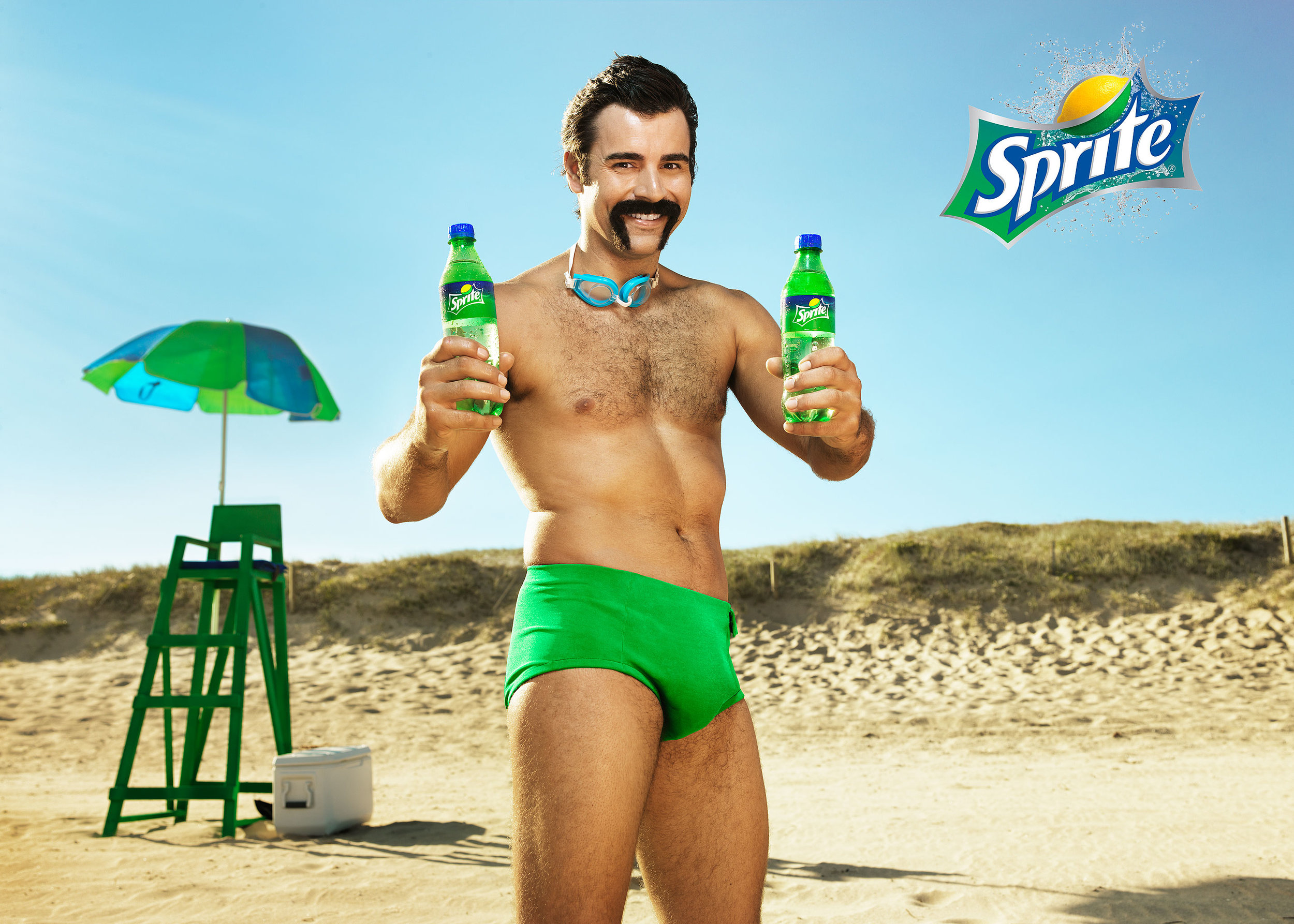 Sprite - Client: Coca Cola companyAgency: McCaanUsage: Web & Social mediaFor the summer Campaign for Sprite the wonderful creatives at McCaan created a hilarious character that goes around saving peoples lives and pulling bottles of Sprite out of his Swimming costume.