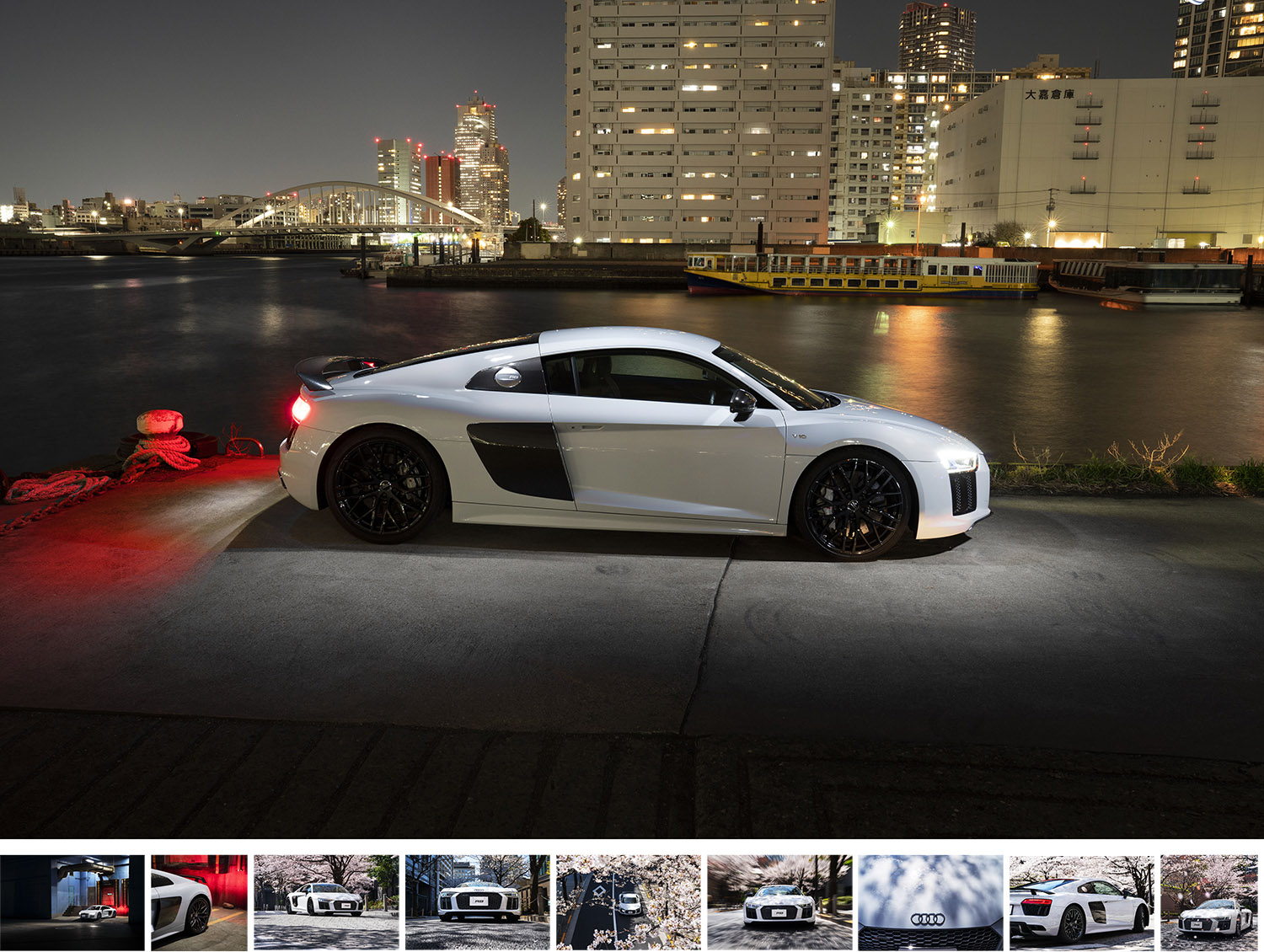 Audi R8 - Agency: Rise & Shine JapanMedia: StillsUsage: SocialWorking with Rise & Shine Japan I shot imagery for social media of the Audi R8. We photographed at night in the packing district of Tokyo as well as during the day in the cherry blossom avenues of Roppongi itchome..