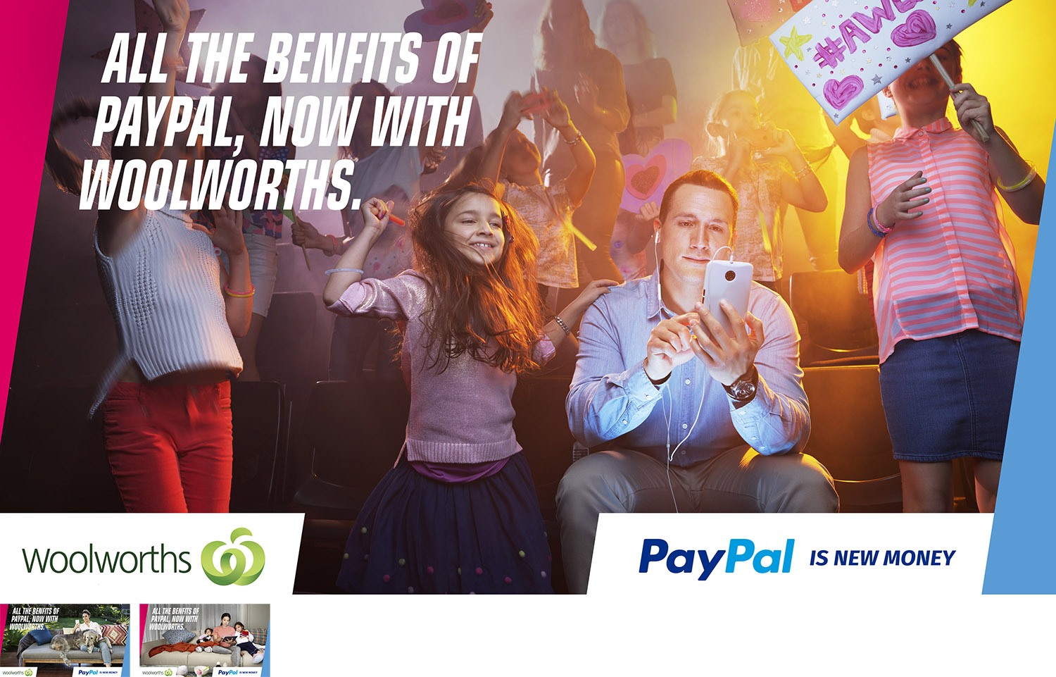Paypal & Woolworths - Client: PaypalAgency: IsobarMedia: Stills:Usage: Web, Social OohIn a 1 day shoot we created 3 scenes at 3 different locations hustling from one location to another in a race against time. But with a happy client and creative team I slept well that night.