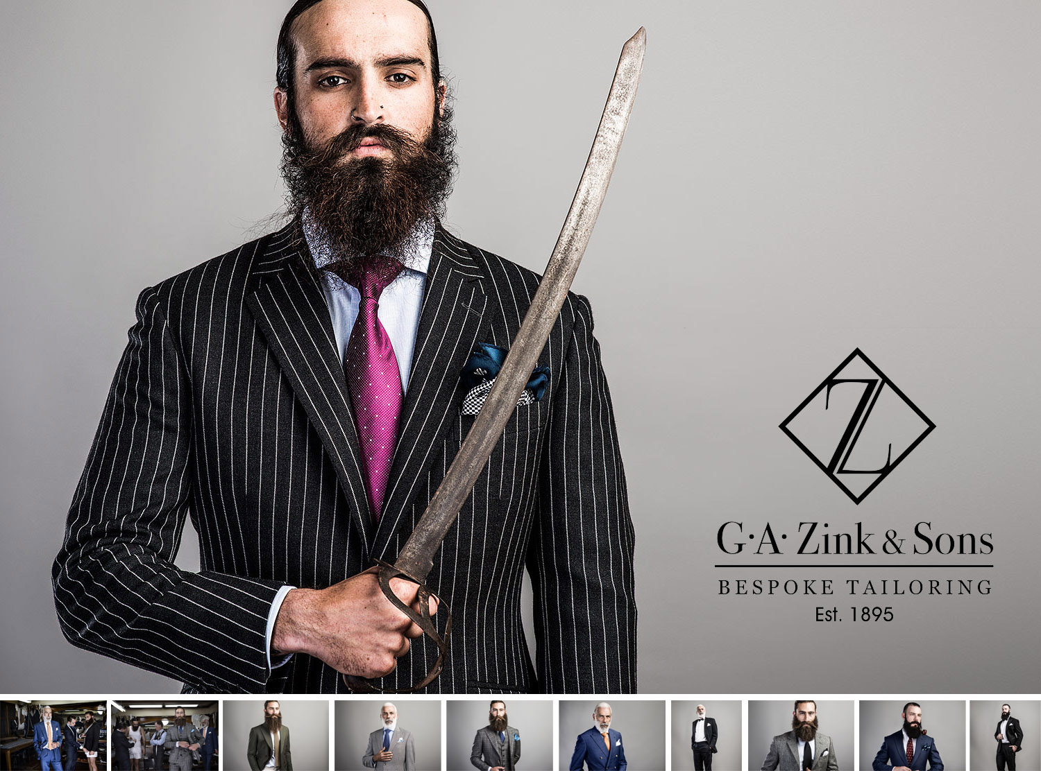 Zink & Sons - Client: Zink & SonsMedia: Still & VideoUsage: Print & WebThis shoot was all about the bearded gentlemen. With a casting call sent out across facebook we found 4 bearded characters that could pull off the look. We shot in a temporary studio set up in the Zink & Sons showroom whilst our talent smoked cigars, drunk Whiskey and played with swords. An interesting combination.