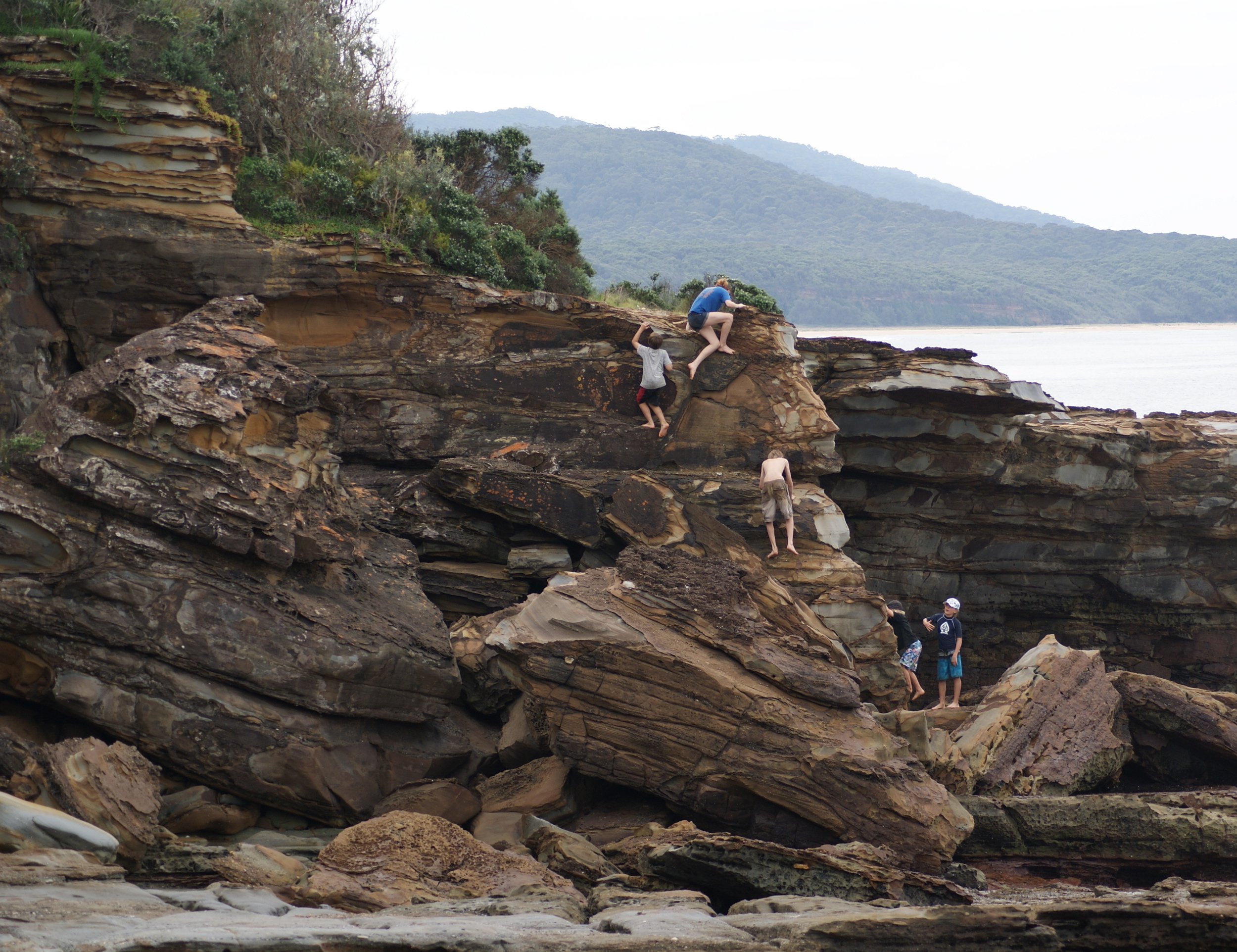 Rock climbing at South Durras