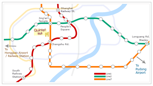 Shanghai overview map with transportation to Quintet