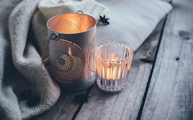 Fill your domain with aromas - Whether it be a scented candle you love, the woody perfume of incense or the comforting fragrance of a slow cooker left on all day, infuse your space with scents that make it feel good to come home after a long day of battling the elements.