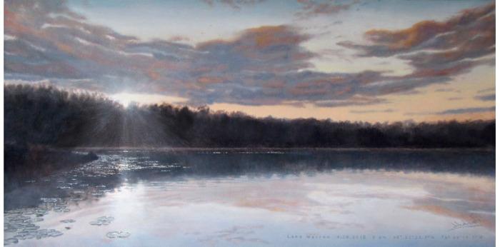 """lake warren <span class=""""sizes-inline"""">18 x 36 oil on canvas</span><span class=""""sold"""">•</span>"""