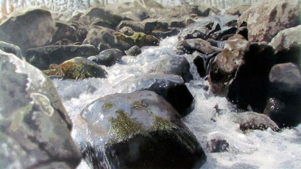 "rolling rocks <span class=""sizes-inline"">27 x 48 oil on linen</span>"