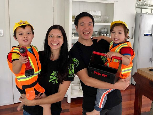 These are the excited faces of a family about to build their dream home! Our clients are part of the team so we kitted them out in Neo T's & kids safety gear. Will keep you updated with progress as we go. 🛠👊 #theadmiralhouse