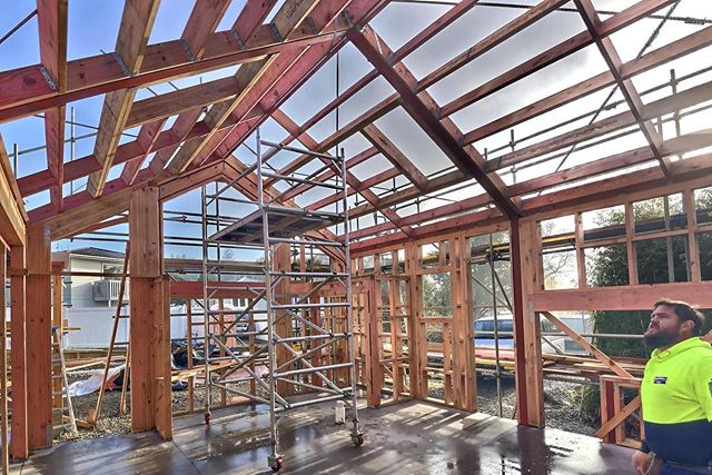 The pitched roof gives this space a grand feeling, with the full height gable end windows making it feel pretty special. ⚒