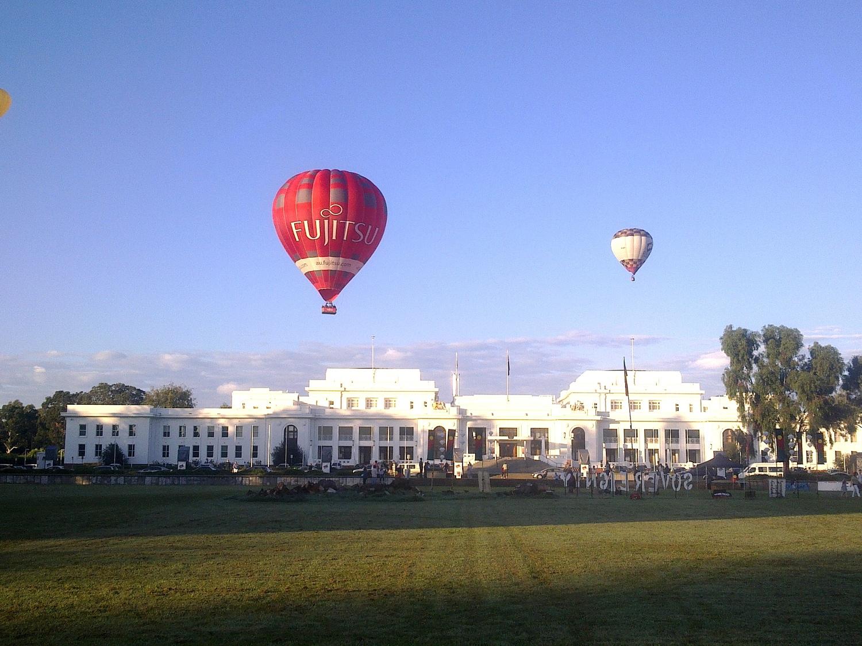 Fujitsu Hiot Air Balloon over Parliament House Canberra.JPG
