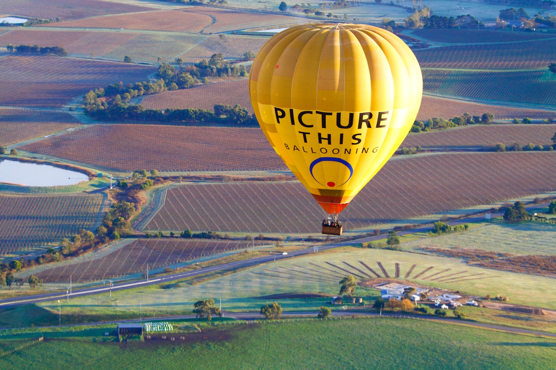 Hot air balloon over Yarra Valley.JPG