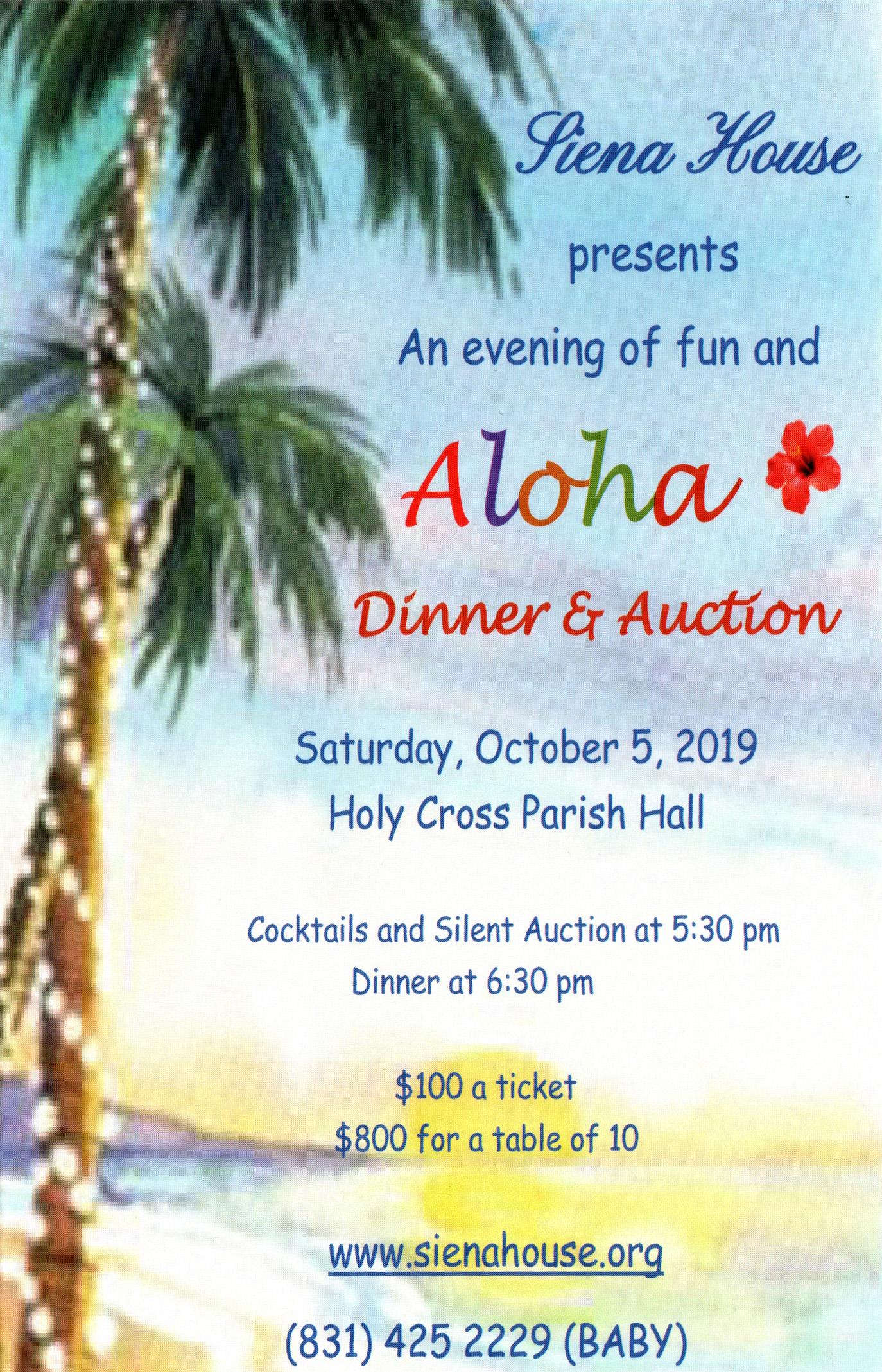 Aloha Dinner & Auction! - Holy Cross Parish Hall — DirectionsSaturday October 5th, 5:30pm