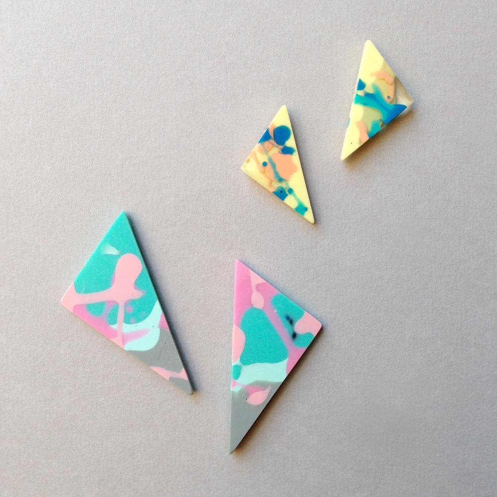 flock curiosity triangle resin earrings falling for florin