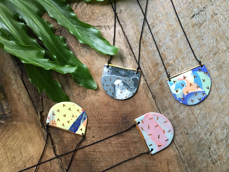 falling for florin handmade ruby pilven porcelain pendants