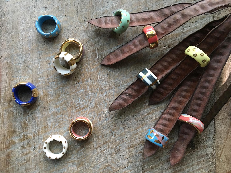 ruby pilven - nerikomi porcelain rings