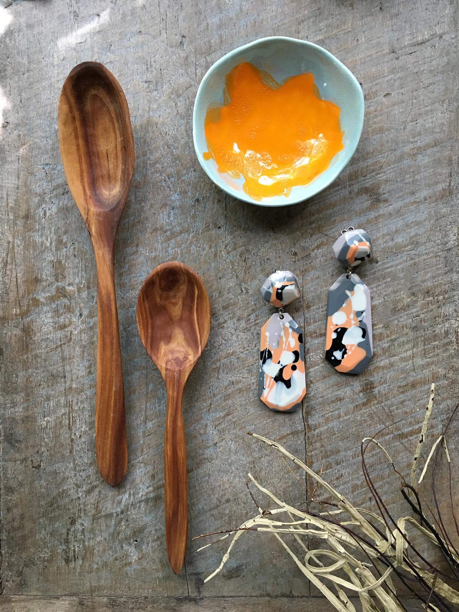 timber utensils -elk craft / resin earrings -flock curiosity assembly / ceramic dish -elnaz nourizadeh