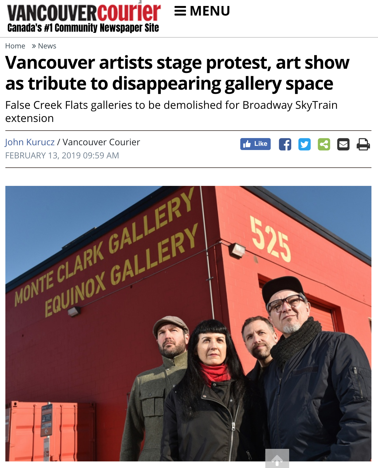 "See my latest public art project (2019 ) featured in the Vancouver Courier. Article  here .  ""Artists Byron Dauncey, Sally Buck, John Goldsmith and Kent Lins and have placed four photos near 525 Great Northern Way as a way to show their work and protest the eventual demolition of two nearby gallery spaces. Photograph By Dan Toulgoet."