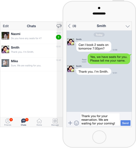 Messaging via LINE