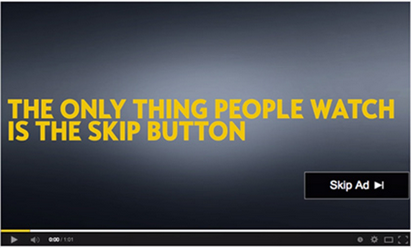 A YouTube pre-roll ad by Opel, highlighting how everyone skips them.