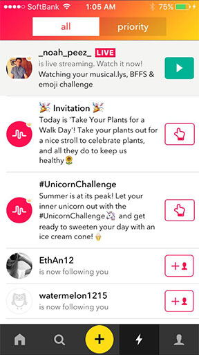 Musical.ly is alerting users when someone is live right at the top of their notifications tab.