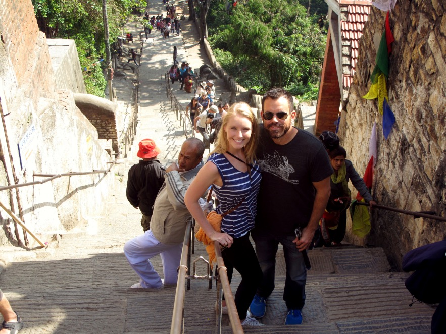 Climbing up tothe widely known buddhist monument called Swayambhunath (the self-existent)also known as monkey temple. The shrine is approximately 2600 years old and there are thousands of people that make the pilgrimage there everyday.