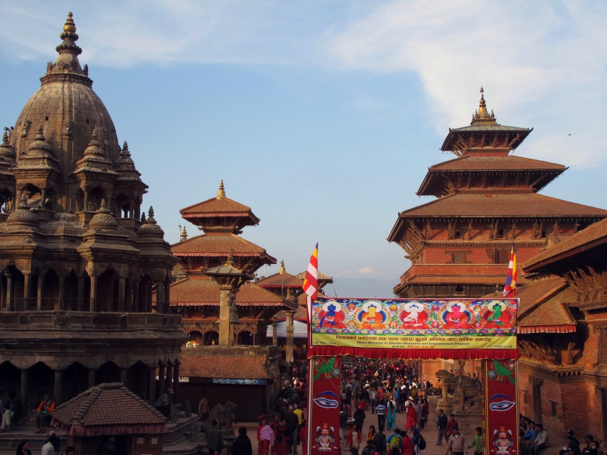 Patan Durbar Square -Located 7 Km south east of Kathmandu and founded in the 3rd century AD, Patan is the oldest among the 3 cities in the valley. There is a different religious festival celebratedeveryday in nepalso the streets are always packed full of people here worshipping &lighting candles.
