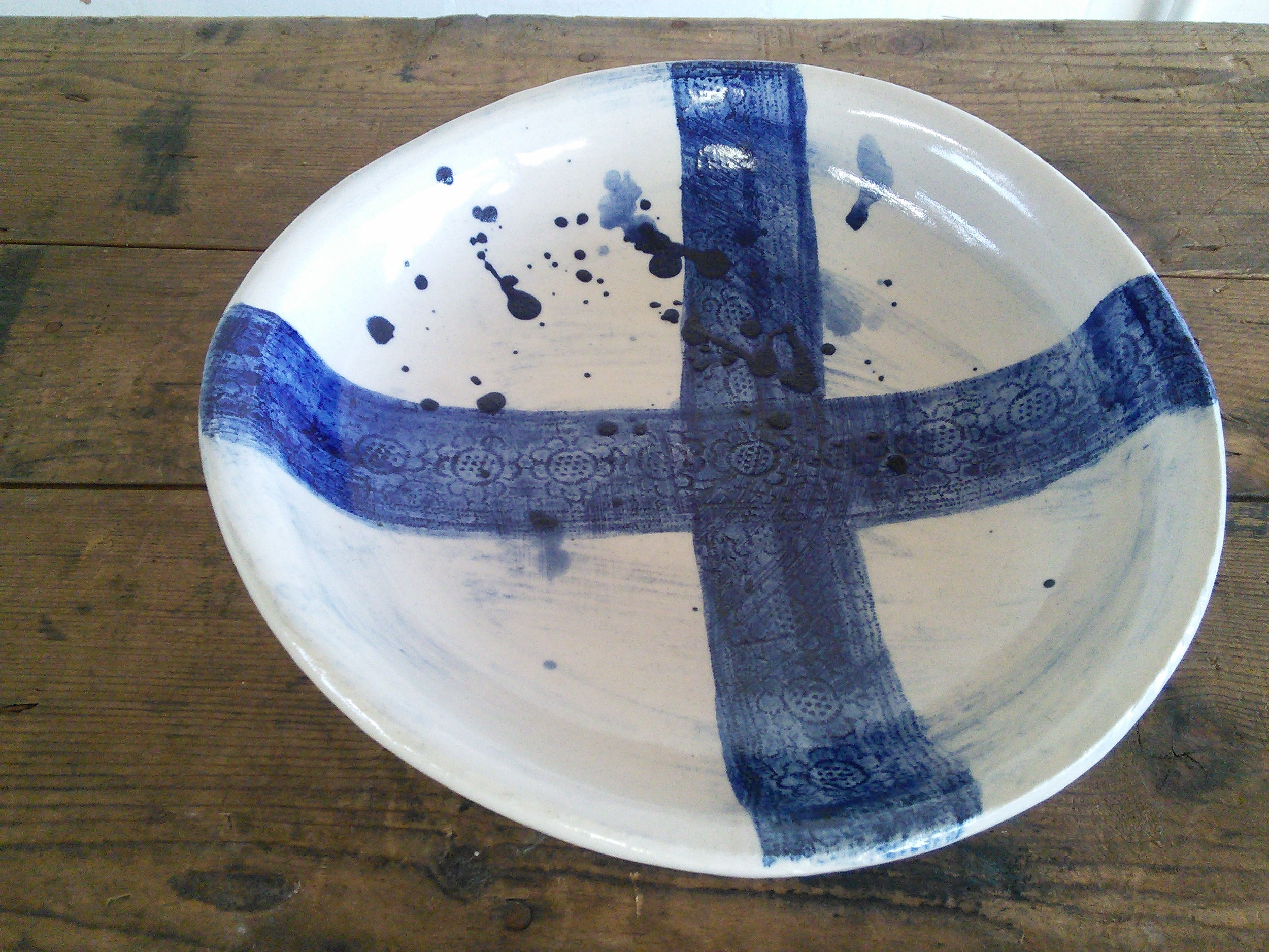 Moulded slab bowl with impressed texture, cobalt wash & cobalt slip, T
