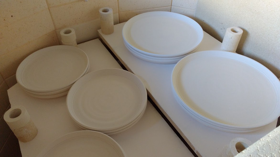 Bisc fired plates in the inaugural firing of my new kiln