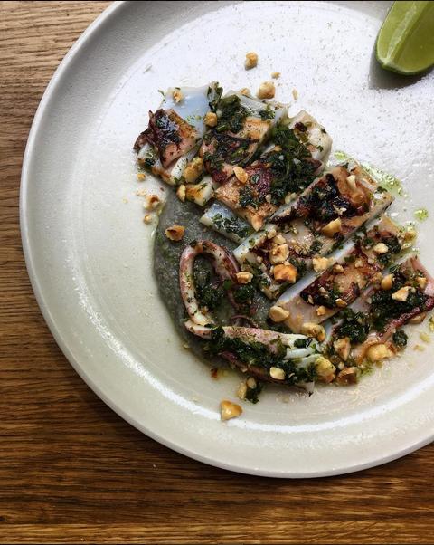 Seared Squid with Gremolata over Aubergine & Coconut Polenta