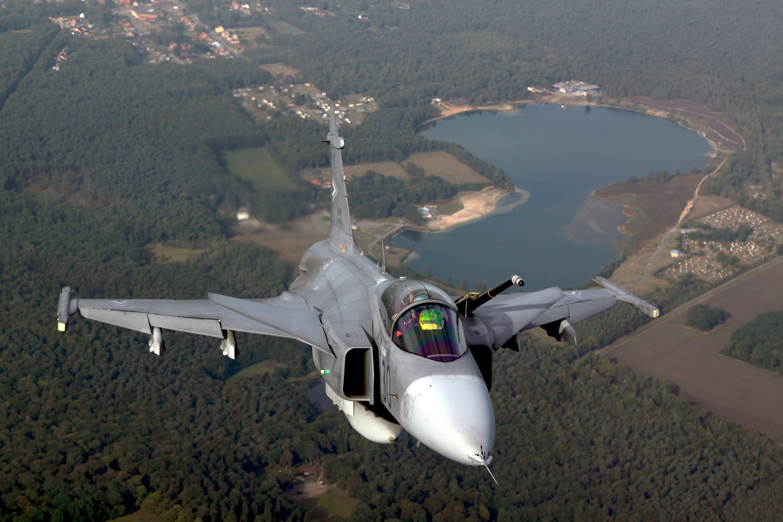 Ready for aerial refueling for the JAS-39 Gripen.