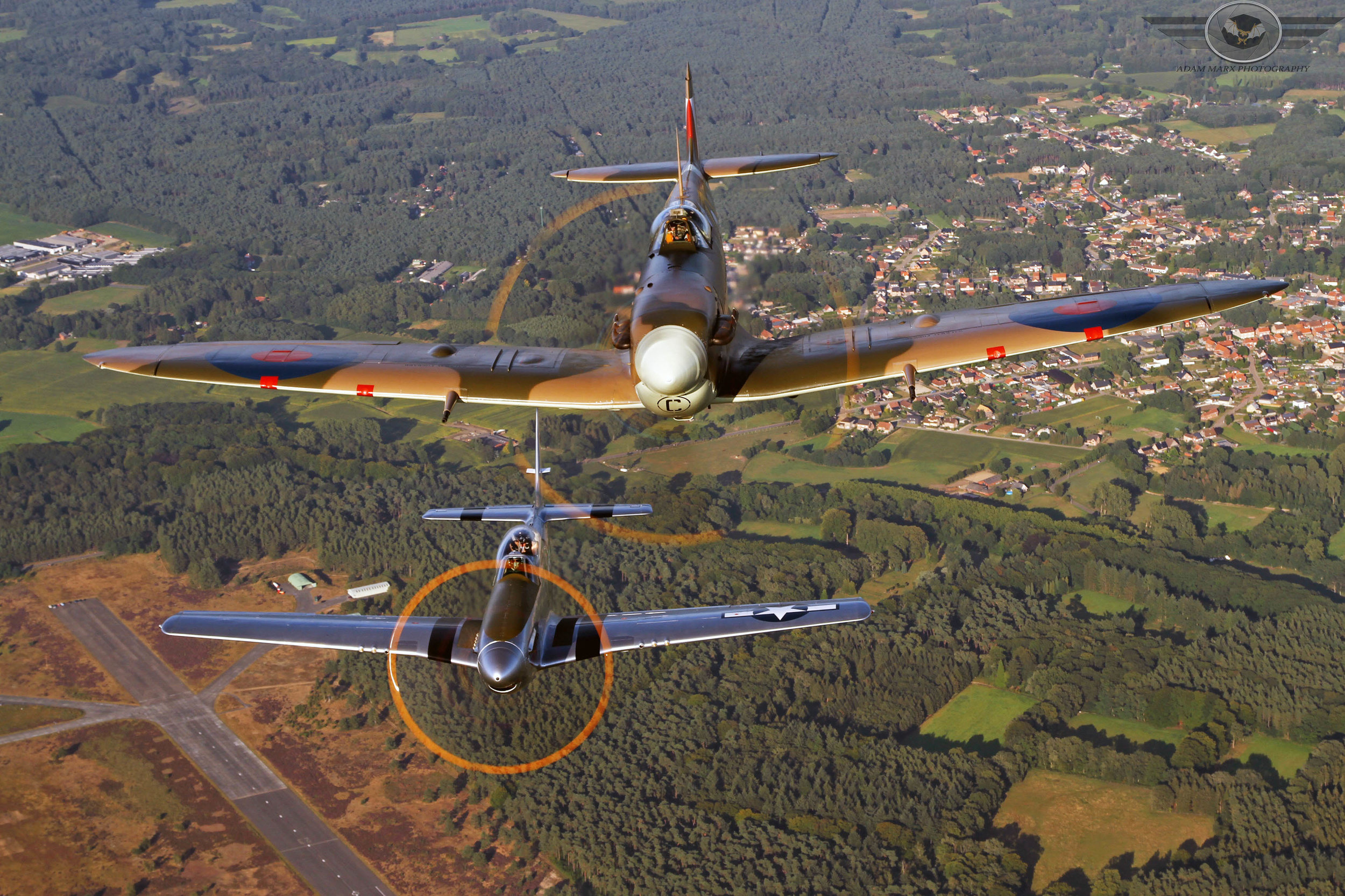 2 classic's in one shot. P-51 Mustang and Supermarine Spitfire.