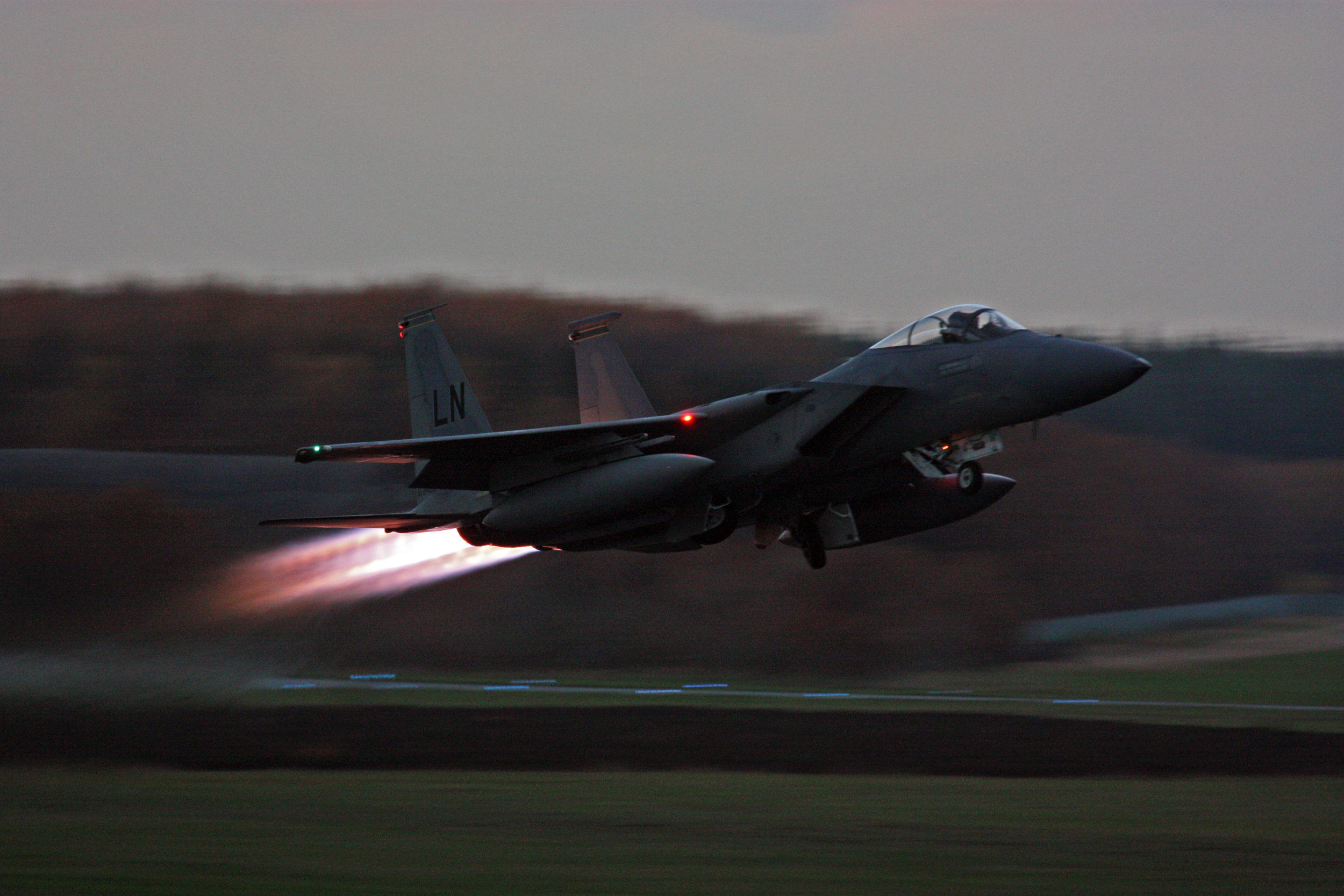 Last departure of an F-15 Strike Eagle simulating a scramble at Soesterberg AB.