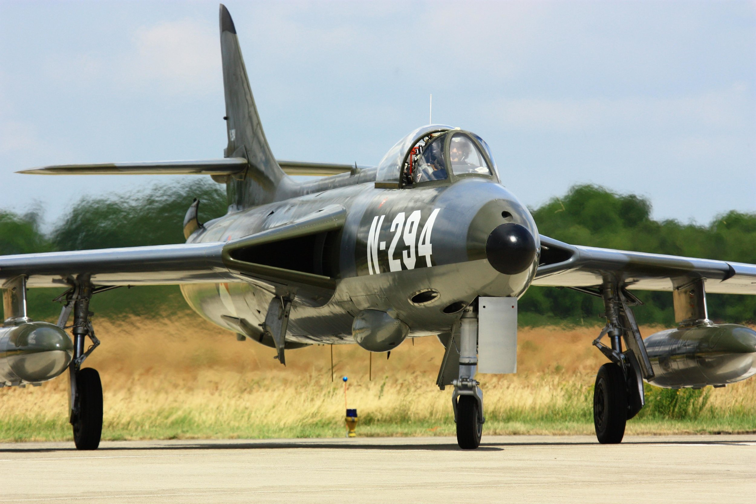 A Hawker Hunter of the historical flight from the Royal Netherlands Air Force.