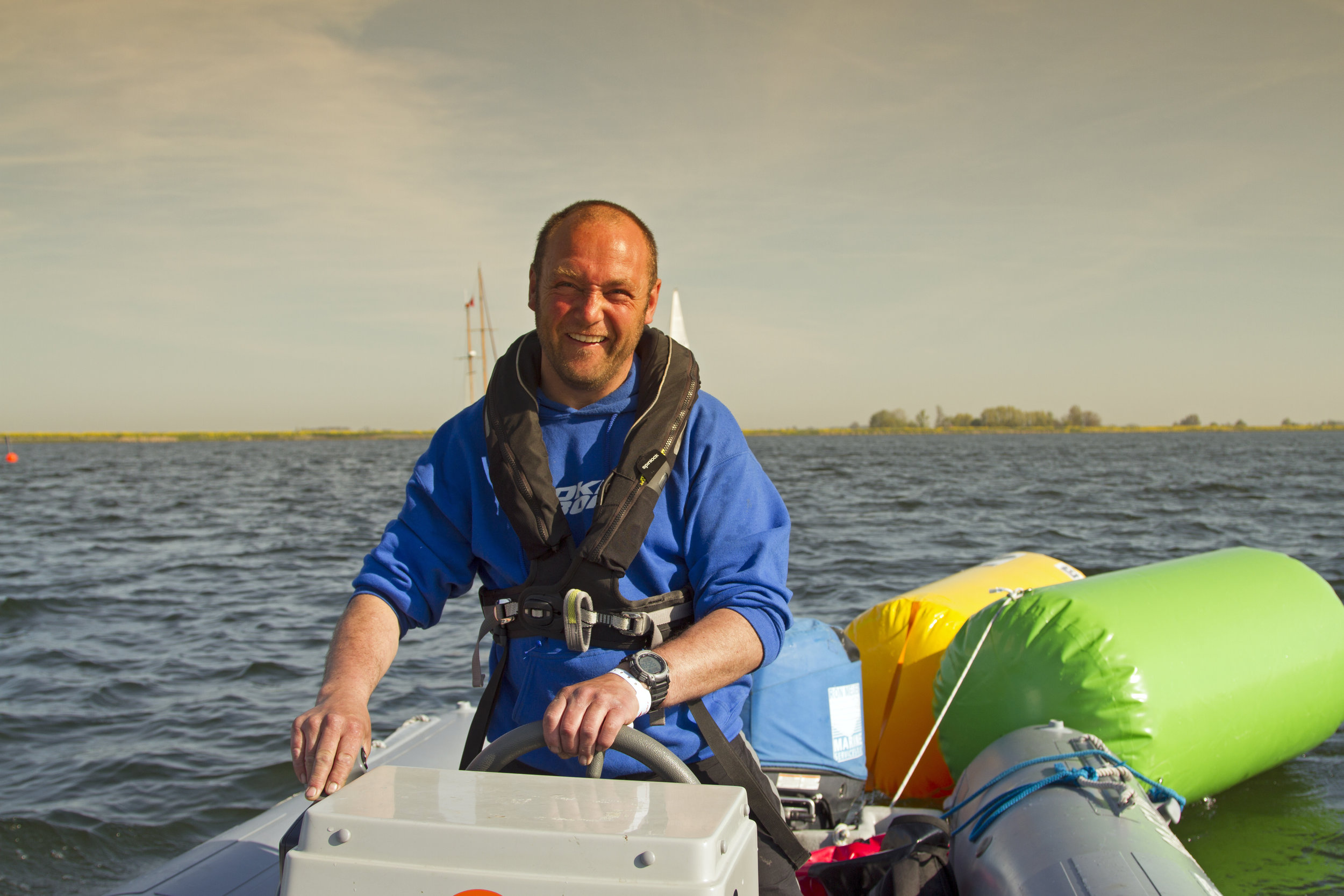 Michel in action in his rugged inflatable boat. (RIB)