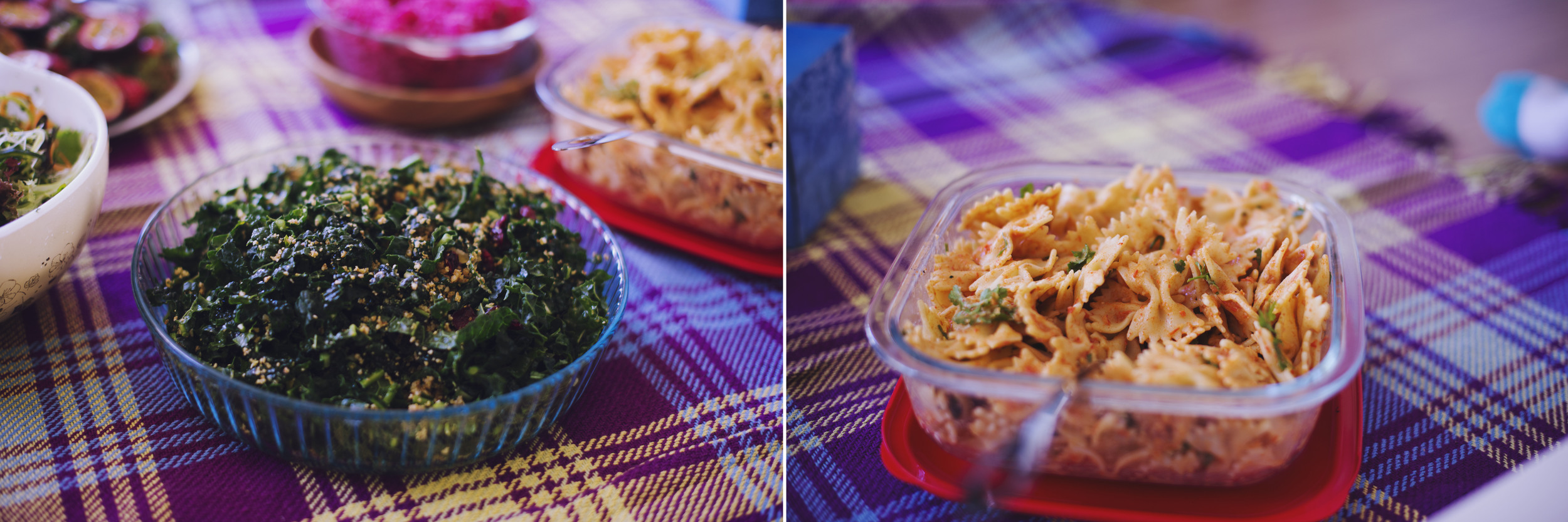 'cheezy' kale salad / roasted capsicum pasta