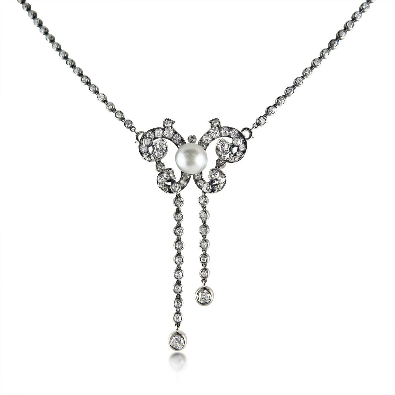 EDWARDIAN PEARL AND DIAMOND LAVALIERE, HUMPHREY BUTLER