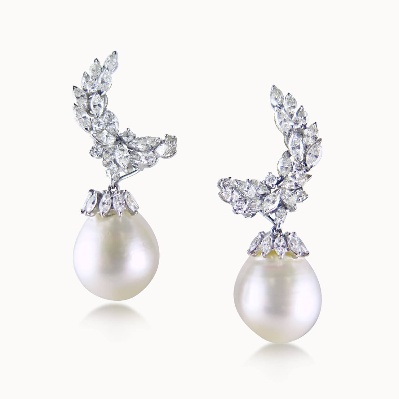 PAIR OF SOUTH SEA PEARL AND DIAMOND EAR PENDANTS