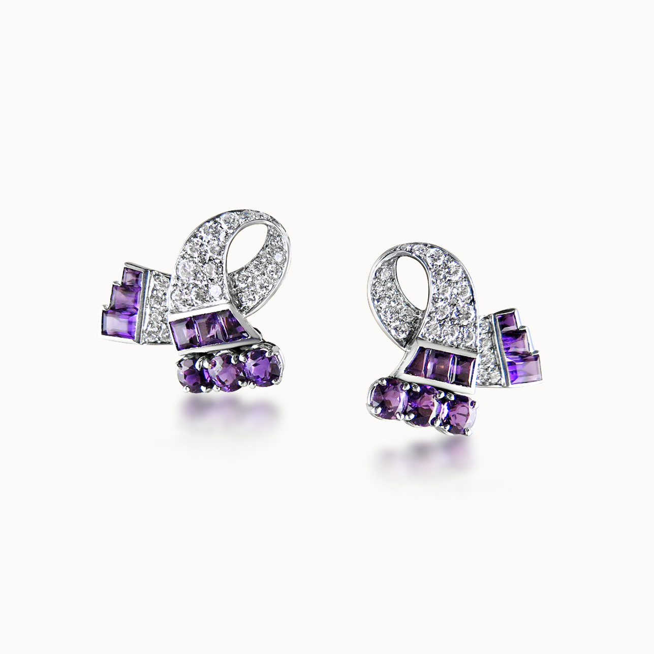 AMETHYST AND DIAMOND EARCLIPS