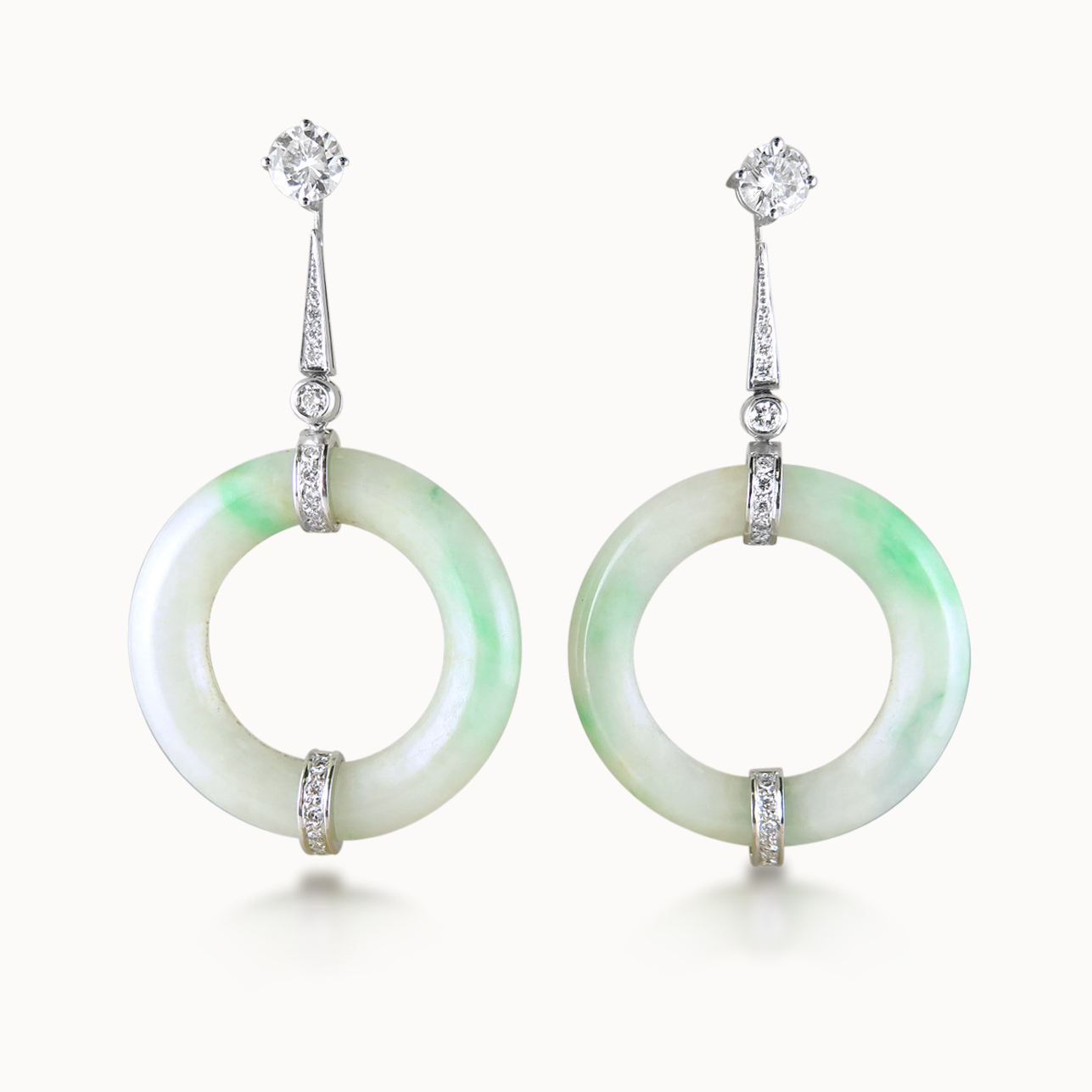 DIAMOND AND JADE EAR-PENDANTS